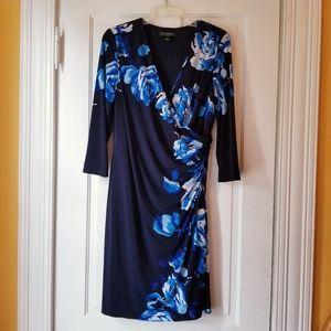 Ralph Lauren Faux Wrap Dress Floral 3/4 Sleeve